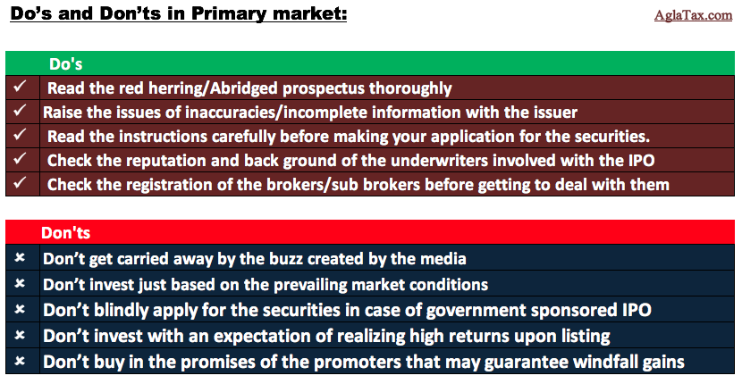 Do's and Don'ts in Primary market dealings