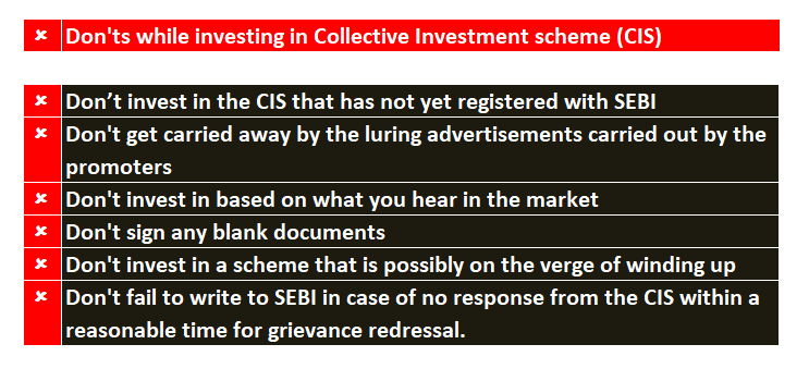 Don'ts in dealing with collective Investment scheme