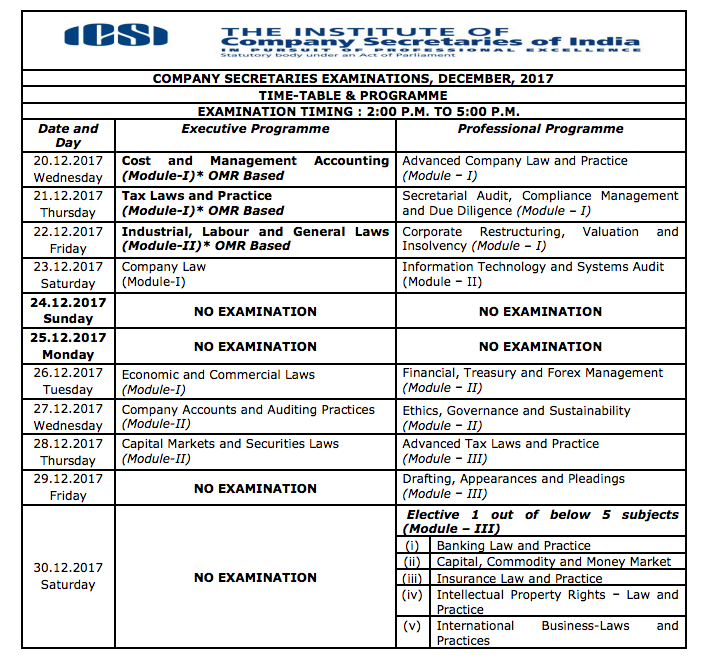 ICSI CS Time Table Dec 2017
